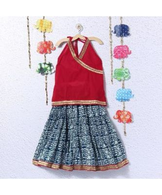 Printed Blue Lehenga with Red halter Neck Choli