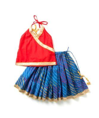 Printed Blue leheriya lehenga with red halter neck choli