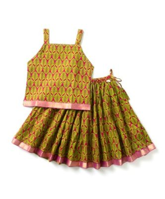printed green lehenga with a printed choli