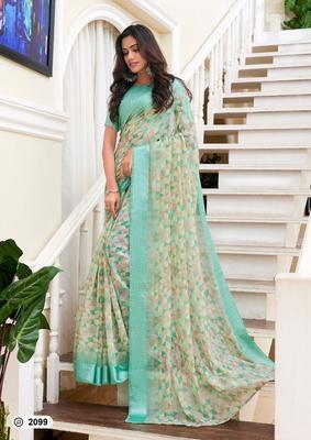 multicolor digital print linen saree with blouse