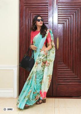 tourquoise digital print linen saree with blouse