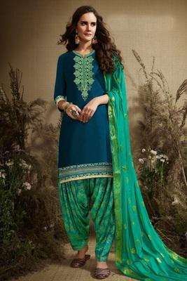 Sea-green embroidered satin salwar