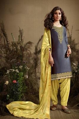 Multicolor embroidered satin salwar
