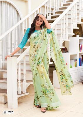 yellow digital print linen saree with blouse