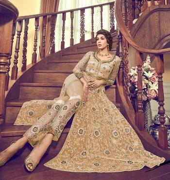 Light-yellow embroidered net salwar