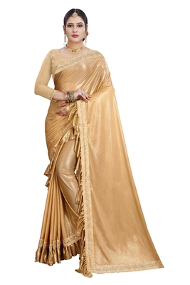 Gold plain lycra saree with blouse