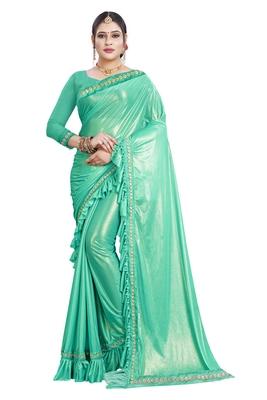 Light blue plain lycra saree with blouse