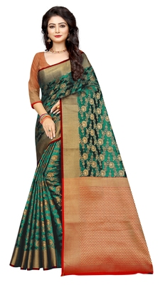 Dark green woven cotton silk saree with blouse