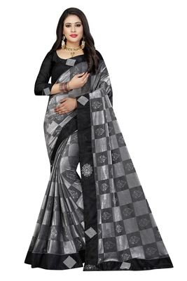 Grey woven georgette saree with blouse