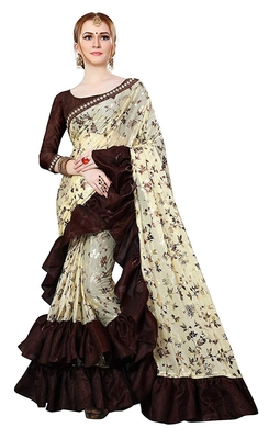 Beige printed lycra saree with blouse
