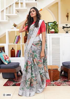 grey digital print linen saree with blouse