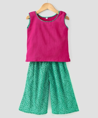 Printed Green palazzo with a Pink top and attached sleeves