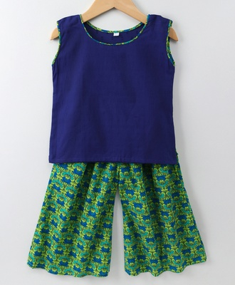 Blue and Green printed palazzo with a Blue top and attached sleeves