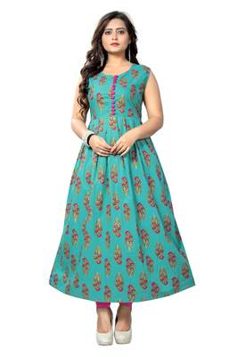 Turquoise Color Printed Cotton A-Line Kurti