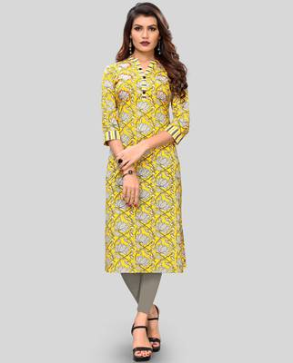 Yellow Colour Printed Cotton Straight Kurti
