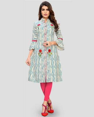 Turquoise Color Embroidered Cotton A-Line Kurti