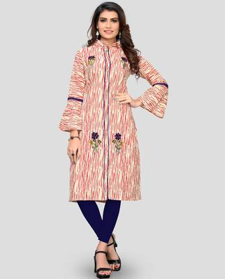 Red Color Embroidered Cotton A-Line Kurti