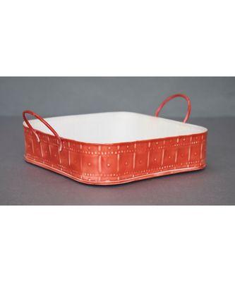 Red Embossed Basket cum Organiser