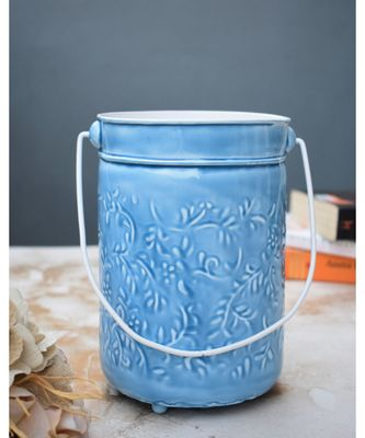 Blue embossed Planter