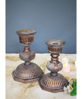 Antique Copper Candle Stands - Set of 2