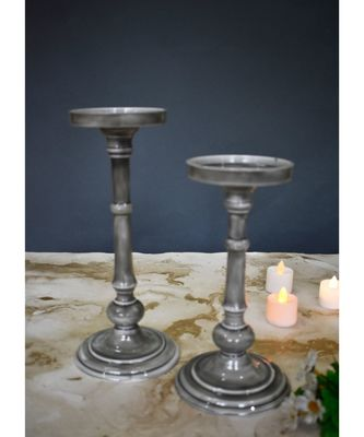 Grey Candle Holder Set