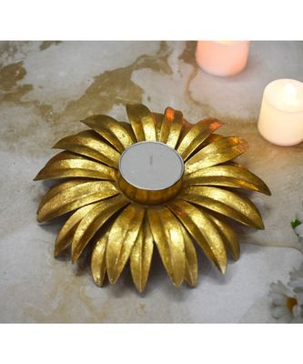 Gold Large Flower T Light Holders