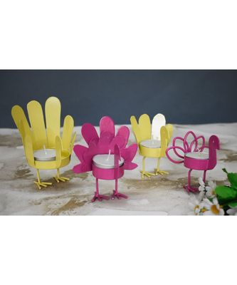 Yellow and Pink Bird T Light Holders