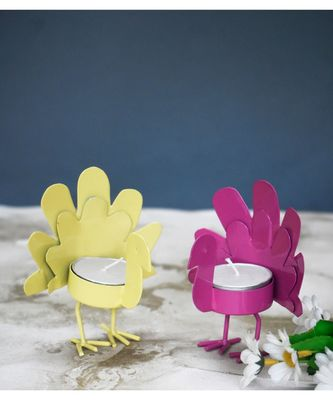 Yellow and Pink Wing Bird T Light Holders