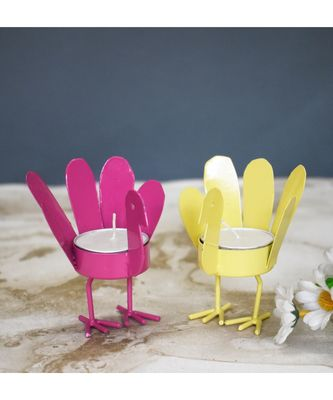 Yellow and Pink Wing Bird T Light Holders - Small