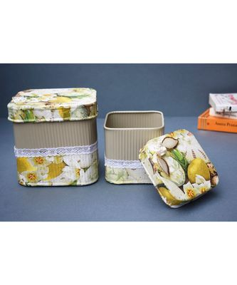 Decoupage Metal Storage Square Boxes cum Containers
