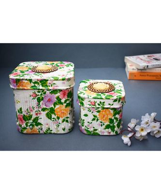 Decoupage Metal Square Boxes