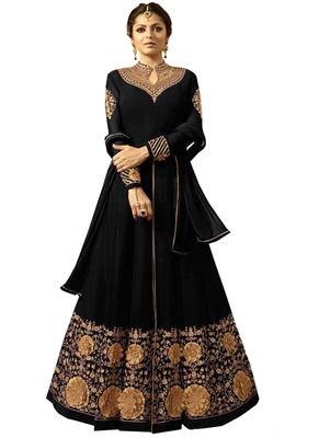 Black embroidered faux georgette salwar