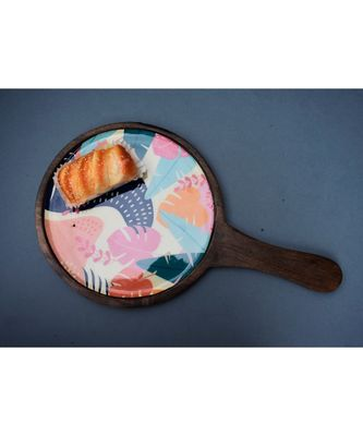 Wooden Round Floral Platter