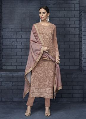 Peach embroidered faux georgette stitched salwar with dupatta
