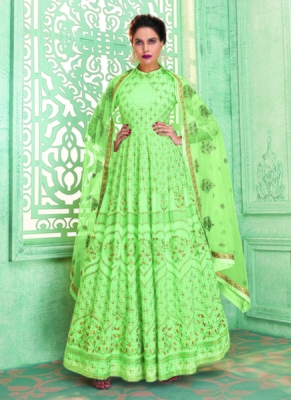 green embroidered faux georgette semi stitched salwar with dupatta