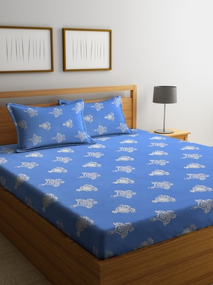blue abstract print Double bedsheet