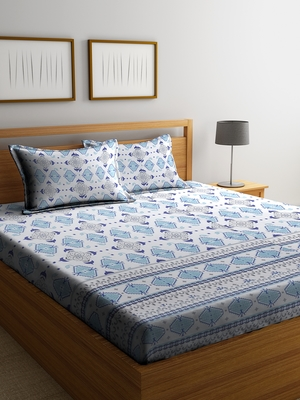 blue geometric Double bedsheet