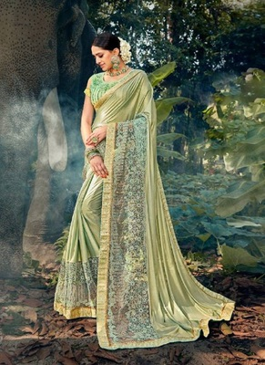 Olive embroidered lycra saree with blouse