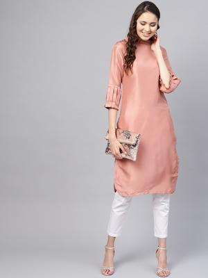 Pink Solid Silk Blend Stitched Kurtis
