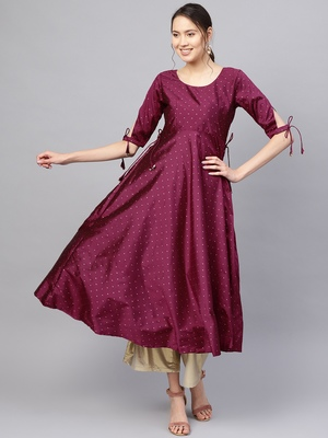 Inddus Purple Silk Blend Anarkali Woven Kurta