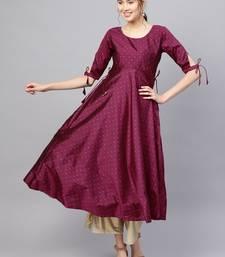Inddus Purple Silk Blend Anarkali Woven Kurta
