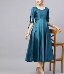Inddus Teal Blue Silk Blend Anarkali Woven Kurta