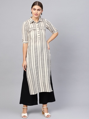 Inndus Beige Rayon Cotton Striped Kurta