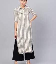 Inndus Beige Rayon Cotton Striped Kurta