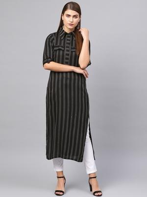 Inddus Black Cotton Striped Kurta