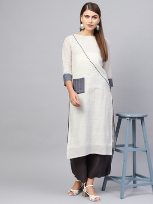 Inddus Off White Linen Blend Striped Kurta