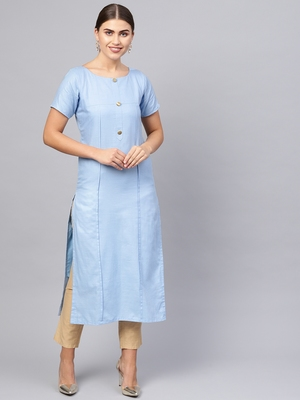 Inddus Blue Linen Blend Solid Kurta