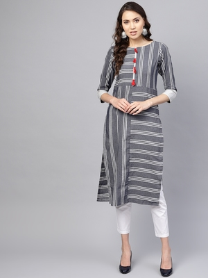 Inddus Grey Linen Blend Striped Kurta