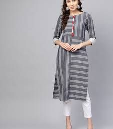 Inddus Grey Linen Blend Striped Kurta