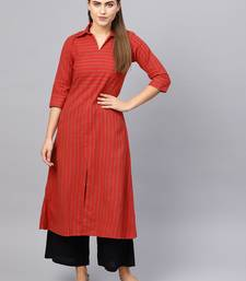 Inddus Red Cotton Striped Kurta